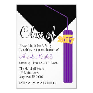 Class Of 2017 Tassel Graduation Invite (Purple)