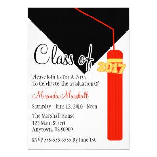 Class Of 2017 Tassel Graduation Invite (Red)
