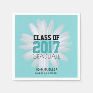 Class of 2017 Teal Daisy | Custom Graduation Party Disposable Serviette