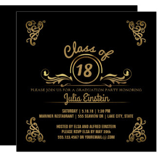 Class of 2018 Elegant Black Gold Graduation Party Card