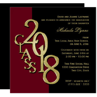 Class of 2018 Grad Burgundy and Gold Card
