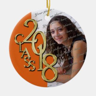 Class of 2018 Graduate Photo Orange Christmas Ornament