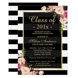 Class of 2018 Graduation Classy Floral Stripes Card
