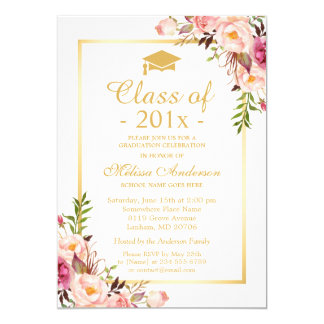 Class of 2018 Graduation Elegant Chic Floral Gold Card