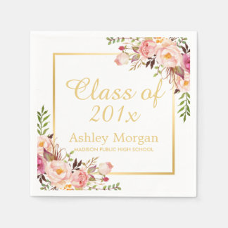 Class of 2018 Graduation Elegant Gold Chic Floral Disposable Napkin