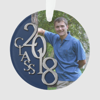 Class of 2018 Navy Blue and Silver Graduate Photo Ornament