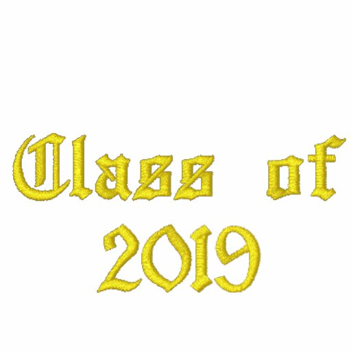 Class of 2019 - Black and Yellow Embroidered Hoodie