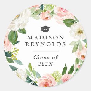 Class of 2019 Graduation Elegant Blush Pink Floral Classic Round Sticker