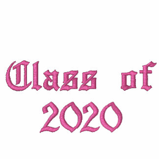 Class of 2020 - Pink Embroidered Hooded Sweatshirt