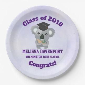 Class of 20xx Congrat Koala Bear in Graduation Cap Paper Plate