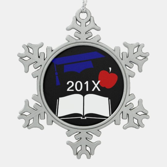 Class of 20xx Customisable Graduation Cap Snowflake Pewter