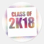 class of 2k18, class of 2018 classic round sticker