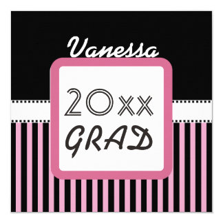 Class of ANY YEAR Custom Name Pink Stripes A5B 13 Cm X 13 Cm Square Invitation Card