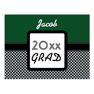 Class of ANY YEAR Kelly Green Black Checks A11Z Postcard