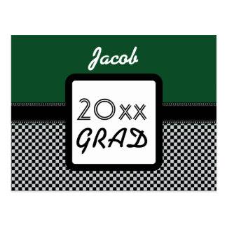 Class of ANY YEAR Kelly Green Black Checks A11Z Postcard