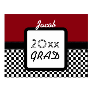 Class of ANY YEAR Maroon Black Checks A11Z1 Postcard