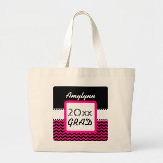 Class of ANY YEAR Pink Chevrons Black Custom Z10 Jumbo Tote Bag