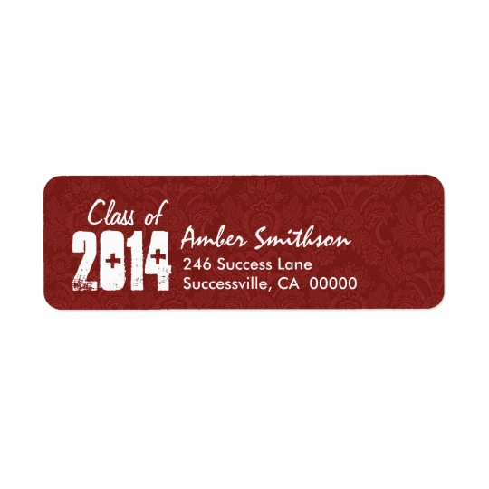 Class of Any Year RED and WHITE Graduation Return Address Label