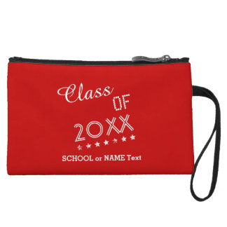 Class of ANY YEAR Text Design Grunge Stars RED S19 Wristlet Clutches