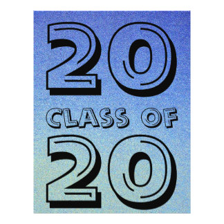 Class of Dazzling Blue Ombre Glitter Sand Look 21.5 Cm X 28 Cm Flyer