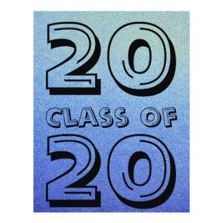 Class of Dazzling Blue Ombre Glitter Sand Look 21.5 Cm X 28 Cm Flyer