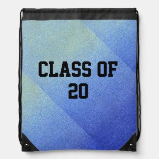 Class of Dazzling Blue Ombre Glitter Sand Look Drawstring Bags