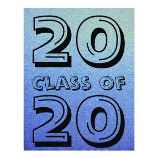 Class of Dazzling Blue Ombre Glitter Sand Look Personalized Flyer