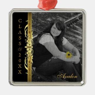 Class of Gold Scroll Photo Black Ornament