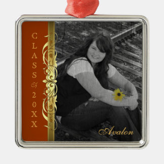 Class of Gold Scroll Photo Orange Ornament