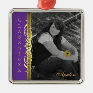 Class of Gold Scroll Photo Purple Ornament
