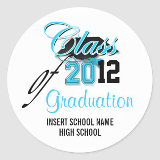 """Class of"" graduation announcement aqua black Classic Round Sticker"