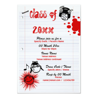 Class of school reunion PERSONALIZE 13 Cm X 18 Cm Invitation Card