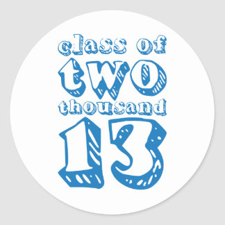 Class of two thousand 13 - Blue Round Sticker
