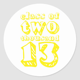 Class of two thousand 13 - Yellow Round Sticker