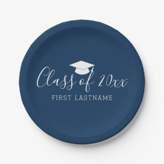 Class of Year and Name - Navy Blue Can Change Paper Plate