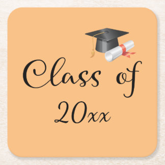 Class of Your Year Square Paper Coaster