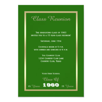 Class Reunion Any Year Green 13 Cm X 18 Cm Invitation Card