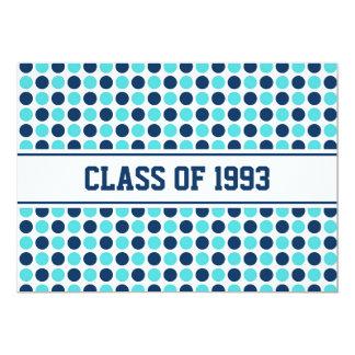 Class Reunion Invitations Blue Teal Dots
