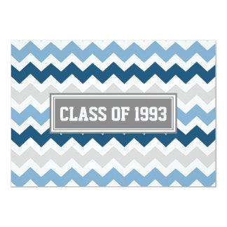 Class Reunion Invitations Gray Blue Chevron