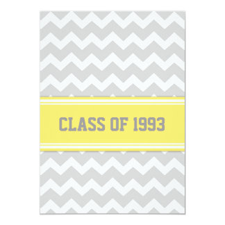 "Class Reunion Invitations Gray Lemon Chevron 5"" X 7"" Invitation Card"