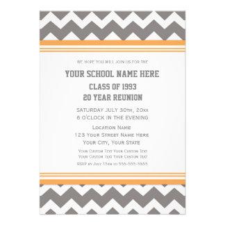 Class Reunion Invitations Gray Orange Chevron