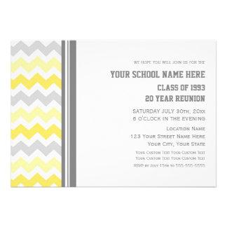 Class Reunion Invitations Gray Yellow Chevron