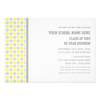 Class Reunion Invitations Gray Yellow Dots