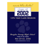 Class Reunion Save-the-Date Announcement (blue) Postcard