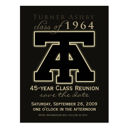 Class Reunion Save-the-Date Announcement Postcards
