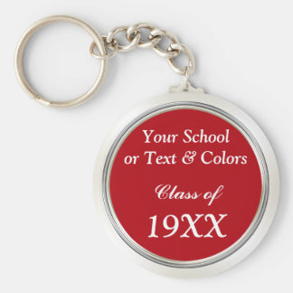 Class Reunion Souvenirs, School Name, Year, Colors Basic Round Button Key Ring