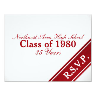 Class Reunion Varsity Stripe Response Card 11 Cm X 14 Cm Invitation Card