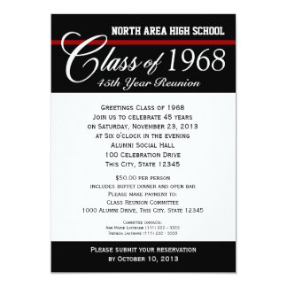 Class Reunion with Adjustable Color Stripe 13 Cm X 18 Cm Invitation Card