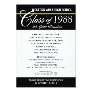 Class Reunion with Color Accent 13 Cm X 18 Cm Invitation Card
