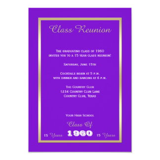 Class Reunion Your Year Purple and Gold 13 Cm X 18 Cm Invitation Card